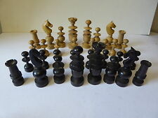 Set of Antique French Turned Wood Chess Pieces - Regency Regence Chess Set