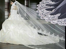 215v Elegant Bridal Ivory Mantilla Embroidered Lace Work Edge 3m Wedding Veil