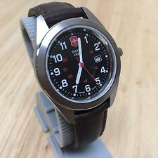 Swiss Army Men Lady 100m Steel Leather Analog Quartz Watch Hour~Date~New Battery