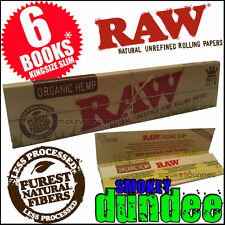 6 RAW ORGANIC King Size Slim Hemp Rolling Papers Vegan