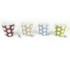 Set of 4 Polka Dot Design Coffee & Tea Ceramic Mugs Ideal for Home and Office