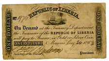 Liberia ... P-7c ... 1 Dollar ... 1863 ... *F*