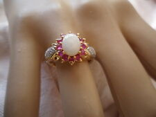 Antique Vintage Gold Ring with Opal and Rubies and Diamonds ring size 7