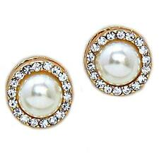 "Cream Pearl Clear Crystal Gold Post Earrings 1/2"" Bridal Formal Prom Wedding"