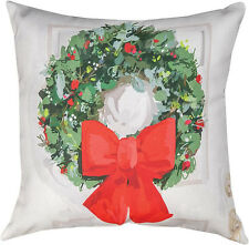 """DECORATIVE PILLOWS - CHRISTMAS WREATH PILLOW - 18"""" SQUARE - INDOOR OUTDOOR"""