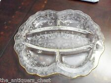 Vtg Wildflower Cambridge crystal print etched glass relish tray divided dish[a5]