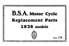 1938 BSA All Models parts book