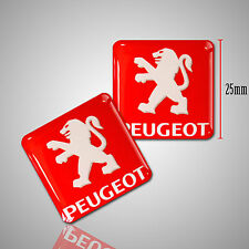 2 x PEUGEOT 3D AUTOCOLLANTS ROUGE STICKERS EMBLEME AUTO MOTO VOITURE TUNING F6
