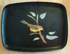 Vintage Couroc Serving Tray Yellow Sparrow Bird 12 x 9
