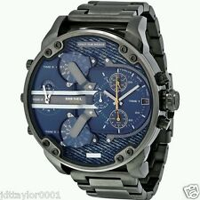 100% New DIESEL MR. DADDY 2.0 DZ7331 GUNMETAL BLUE DENIM BRACELET MENS WATCH