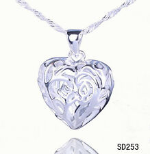 lovely 1PCS Jewelry S80 S925 Silver heart Necklace Pendant SP253