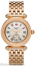 NEW AUTHENTIC MICHELE CABER ROSE GOLD-TONE DIAMOND WOMEN'S WATCH MWW16A000044