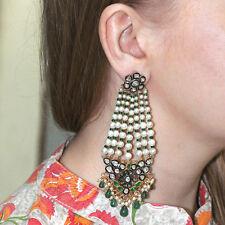 New 925 Silver RoseCut Diamond 14k Gold Emerald/Pearl Beaded Chandelier Earrings