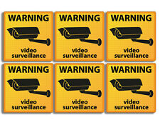 6-Pack: 2x2 inch WARNING Under Surveillance Stickers -video camera security cam