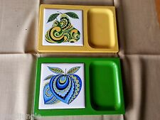 Vintage Mid Century DANISH MODERN GREEN  LACQUER WAR trays YELLOW GREEN FRUIT