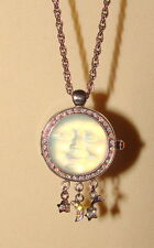 Kirks Folly SEAVIEW MOON Watch Pendant Necklace Crystals REVERSIBLE CRYSTALS