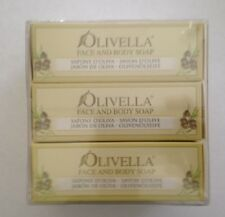 LOT OF 3 Olivella Face and Body Soap, All-Natural 100% Virgin Olive Oil- Italia
