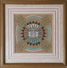 "Vintage Authentic Fred Harvey Navajo Sand Painting signed by Artist ""Pollen Boy"""