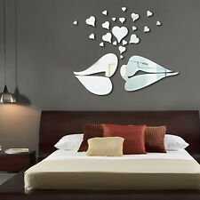 New Wall Decal Sticker Mirror Mural Lips Heart DIY Lovers Home Living Room Deco