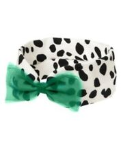 GYMBOREE FANCY DALMATIONS POLKA DOT N GREEN BOW ELASTIC HEADBAND NWT