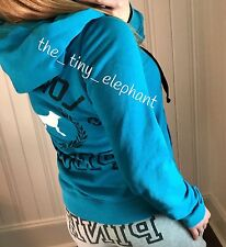 Victoria Secret Love Pink 86 Graphic Teal Full Zip Hoodie Gray Sweat Shorts Set