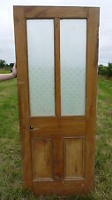 "GL46 (31 3/4"" x 79"") period pine victorian door with patterned etched glass"