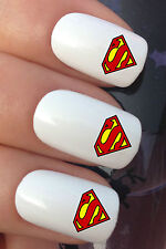 NAIL ART SET #681 x20 SUPERHERO SUPERMAN LOGO WATER TRANSFER DECALS STICKERS