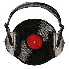 Music Themed Record W/ Headphones Embroidered Iron On Badge Applique Patch P3562
