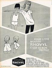 PUBLICITE ADVERTISING 124  1963  RHOVYL    sous vetements