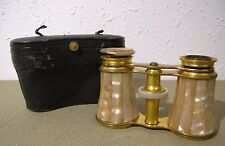 Antique 1886 Lemaire F1 Opera Glasses Shell MOP Leather Case for Restoration