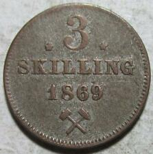 Norway, 3 Skilling, 1869, Toned Fine+, .0181 Ounce Silver