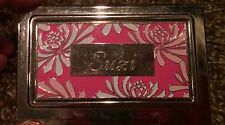 Preowned  Personalised Business Card Holder Stainless Steel Suzi Name Gift Pink