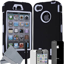 Pen+Black Rugged Rubber Matte Hard Case Cover For iPhone 4 4S w/ Screen Protect