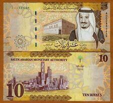 Saudi Arabia, 10 Riyals, 2016, P-New, Redesigned, New King Salman, A-Prefix, UNC