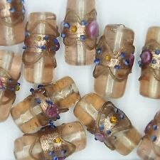 Glass Beads Amber Transparent Gilded Floral Tube 22x10mm Pk of 10. Made in India