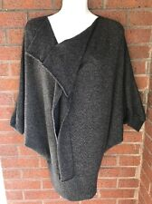 Vince Ruffle Front 100% Cashmere Tunic Dolman Sleeve Sweater Gray Sz M