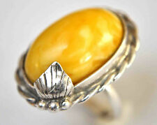 Antique Sterling Silver and Large Natural Baltic Butterscotch Amber Ring SZ:6.5