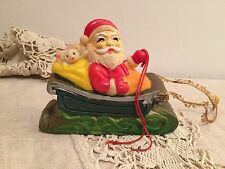 VINTAGE RUBBER SQUEAK TOY CHRISTMAS SANTA IN SLEIGH SLED MADE IN JAPAN