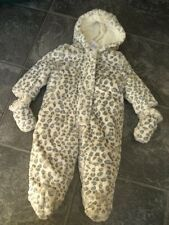 Ex-store 9-12 months leopard print fur snowsuit all in one with mittens BNWT
