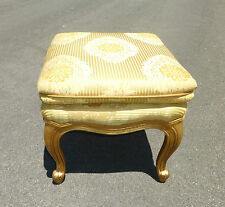 Vintage French Provincial Gold Gilt STOOL Bench Ottoman w CABRIOLE LEGS