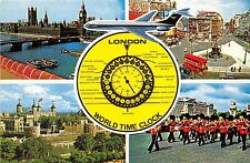 B87696 london world time clock double decker bus plane airplane   uk