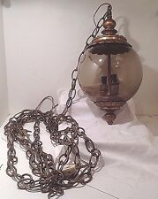 Mid Century Hanging Light Smokey Gray & Gold Glass Electric Swag Lamp Vintage