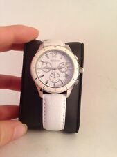 Golana Aura Chrono Women's Quartz Watch White Dial White Leather Band AU400-1 hc