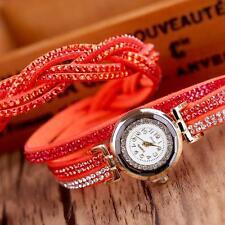 2016 Fashion Women Watch Bracelet Crystal Leather Band Analog Dress Wrist Watch
