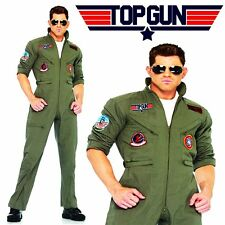 80s Movie Top Gun Maverick Mens Aviator Pilot Flight Suit Jumpsuit Herrenkostüme
