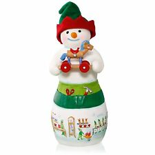 Hans K. Woodsworth Snowtop Lodge Porcelain Snowman Elf Ornament 2015 Hallmark
