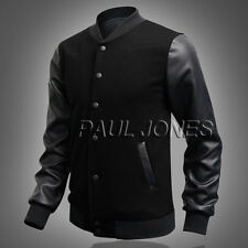 Men's Coat Varsity Letterman College Baseball PU Leather Sleeve Jacket  Outwear