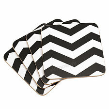 Pack of 4 Chevron Black & White Coasters 10cm Square Mug Cup Drinks Table Mats