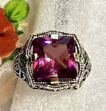 3CT Color Changing Alexandrite 925 Solid Sterling Silver Filigree Ring Sz 5 1/2
