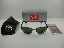 AUTHENTIC RAY-BAN SUNGLASSES RB3445 004 GUNMETAL FRAME/GREEN LENS NEW!  61MM